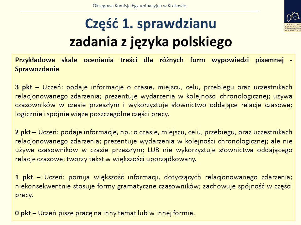 Okręgowa Komisja Egzaminacyjna w Krakowie Część 1. sprawdzianu zadania z języka polskiego 17 Przykładowe skale oceniania treści dla różnych form wypow