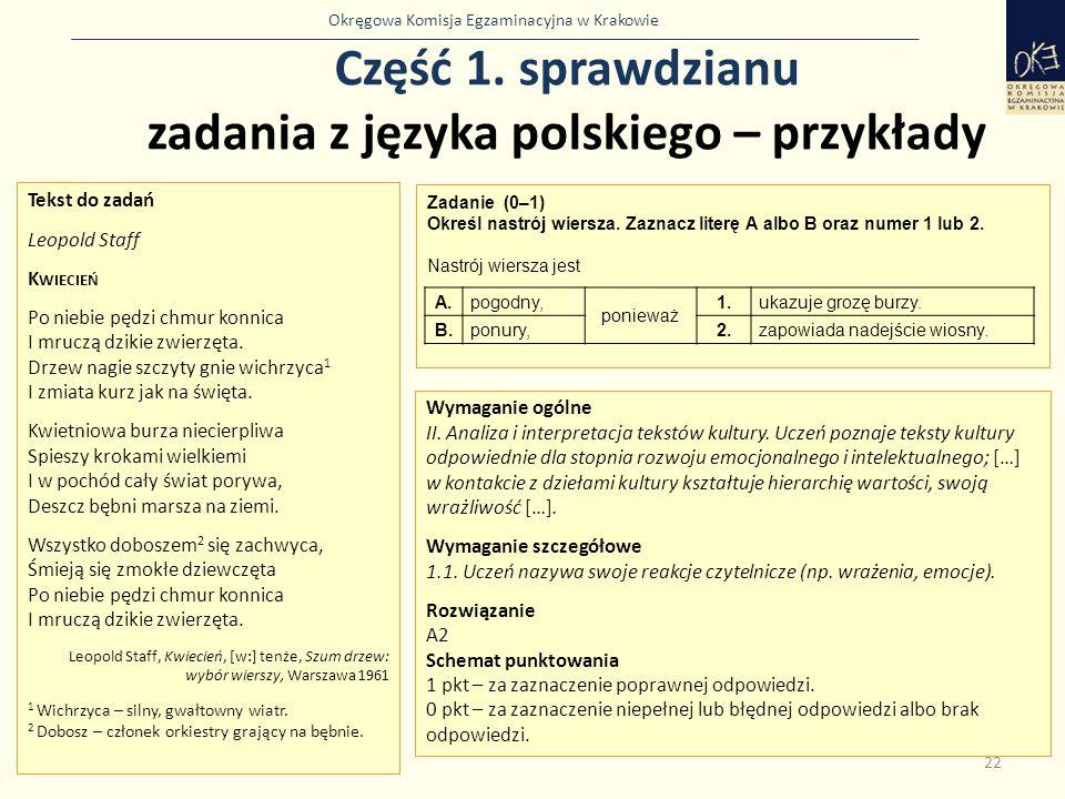 Okręgowa Komisja Egzaminacyjna w Krakowie Część 1. sprawdzianu zadania z języka polskiego – przykłady 22 Zadanie (0–1) Określ nastrój wiersza. Zaznacz