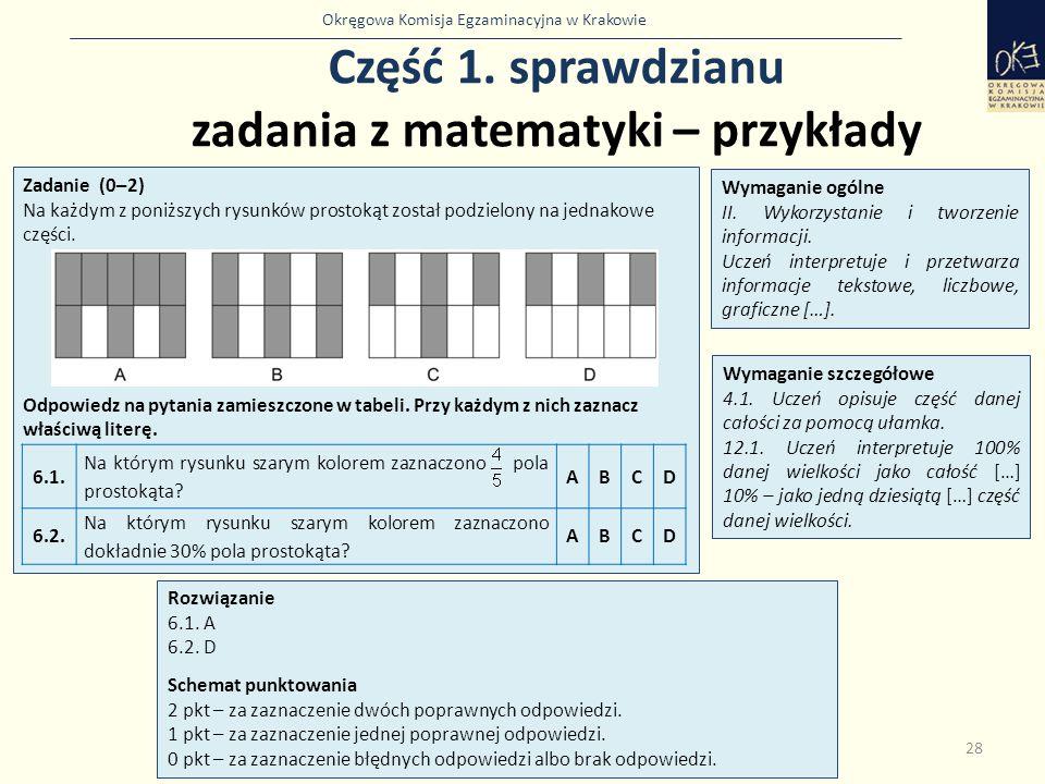 Okręgowa Komisja Egzaminacyjna w Krakowie Część 1. sprawdzianu zadania z matematyki – przykłady 28 Zadanie (0–2) Na każdym z poniższych rysunków prost