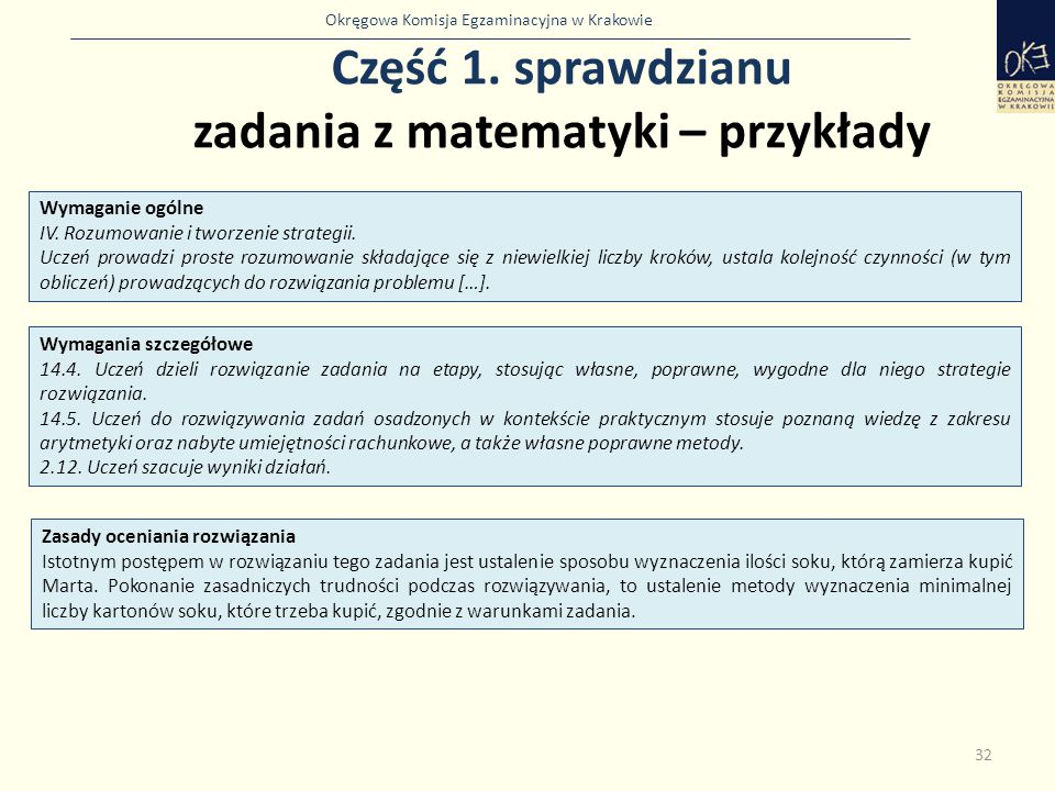 Okręgowa Komisja Egzaminacyjna w Krakowie Część 1. sprawdzianu zadania z matematyki – przykłady 32 Wymaganie ogólne IV. Rozumowanie i tworzenie strate