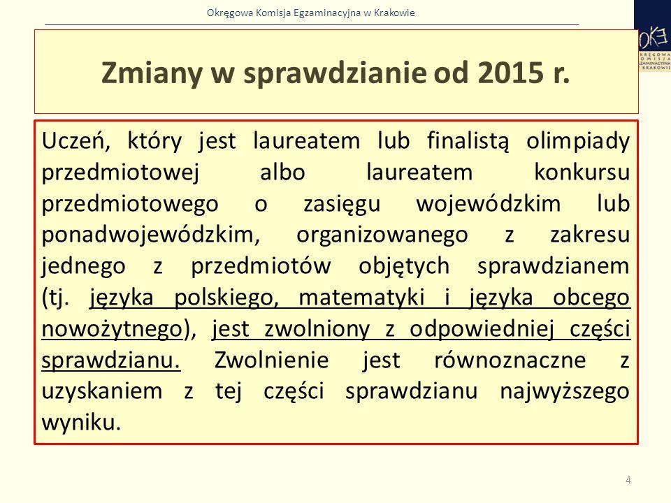 Okręgowa Komisja Egzaminacyjna w Krakowie Sprawdzian jest przeprowadzany w kwietniu.