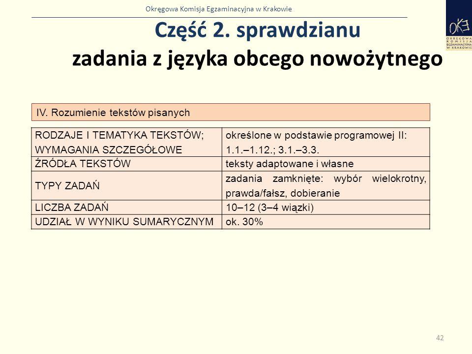 Okręgowa Komisja Egzaminacyjna w Krakowie Część 2. sprawdzianu zadania z języka obcego nowożytnego 42 IV. Rozumienie tekstów pisanych RODZAJE I TEMATY