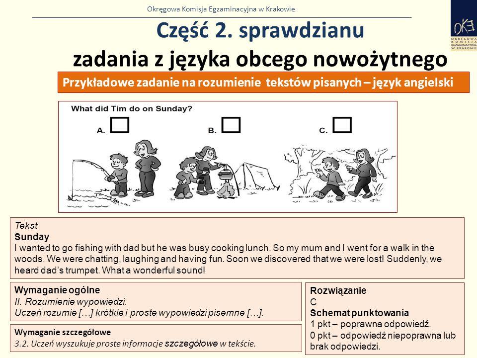 Okręgowa Komisja Egzaminacyjna w Krakowie Część 2. sprawdzianu zadania z języka obcego nowożytnego 45 Wymaganie ogólne II. Rozumienie wypowiedzi. Ucze