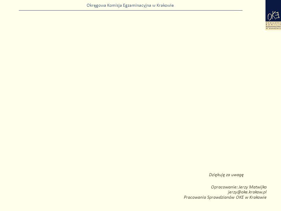 Okręgowa Komisja Egzaminacyjna w Krakowie Dziękuję za uwagę Opracowanie: Jerzy Matwijko jerzy@oke.krakow.pl Pracowania Sprawdzianów OKE w Krakowie