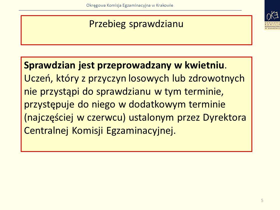 Okręgowa Komisja Egzaminacyjna w Krakowie Sprawdzian jest przeprowadzany w kwietniu. Uczeń, który z przyczyn losowych lub zdrowotnych nie przystąpi do