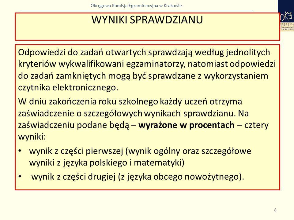 Okręgowa Komisja Egzaminacyjna w Krakowie Wyniki sprawdzianu Wynik procentowy to odsetek punktów (zaokrąglony do liczby całkowitej), które uczeń zdobył za zadania sprawdzające wiadomości i umiejętności z danego przedmiotu.