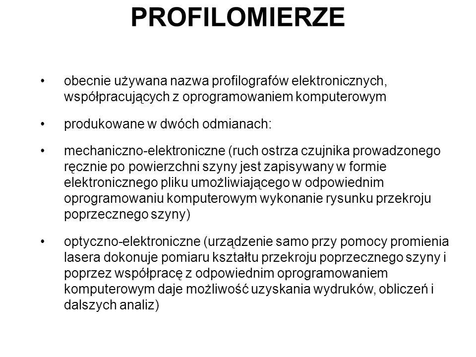 PROFILOMIERZE obecnie używana nazwa profilografów elektronicznych, współpracujących z oprogramowaniem komputerowym produkowane w dwóch odmianach: mech