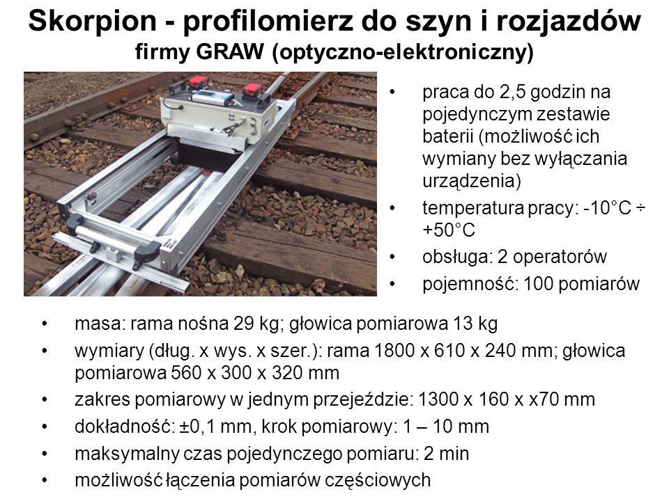 Skorpion - profilomierz do szyn i rozjazdów firmy GRAW (optyczno-elektroniczny) masa: rama nośna 29 kg; głowica pomiarowa 13 kg wymiary (dług. x wys.