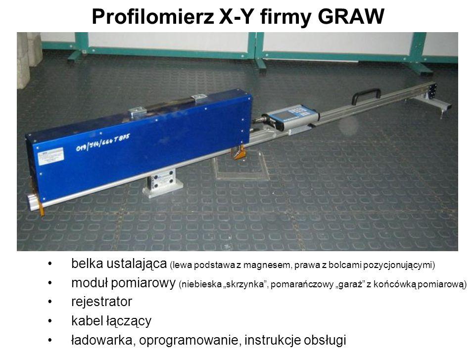 """Profilomierz X-Y firmy GRAW belka ustalająca (lewa podstawa z magnesem, prawa z bolcami pozycjonującymi) moduł pomiarowy (niebieska """"skrzynka"""", pomara"""