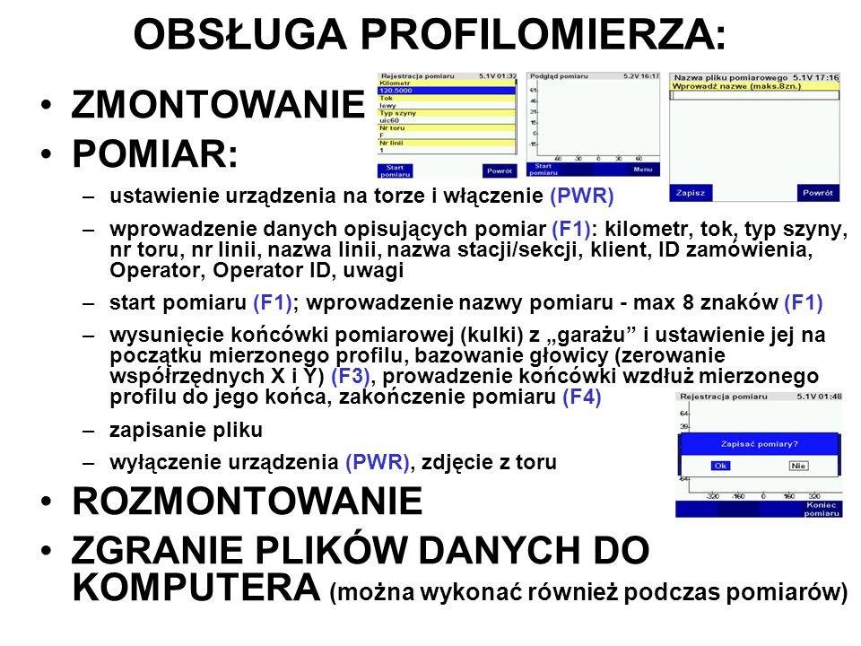 OBSŁUGA PROFILOMIERZA: ZMONTOWANIE POMIAR: –ustawienie urządzenia na torze i włączenie (PWR) –wprowadzenie danych opisujących pomiar (F1): kilometr, t