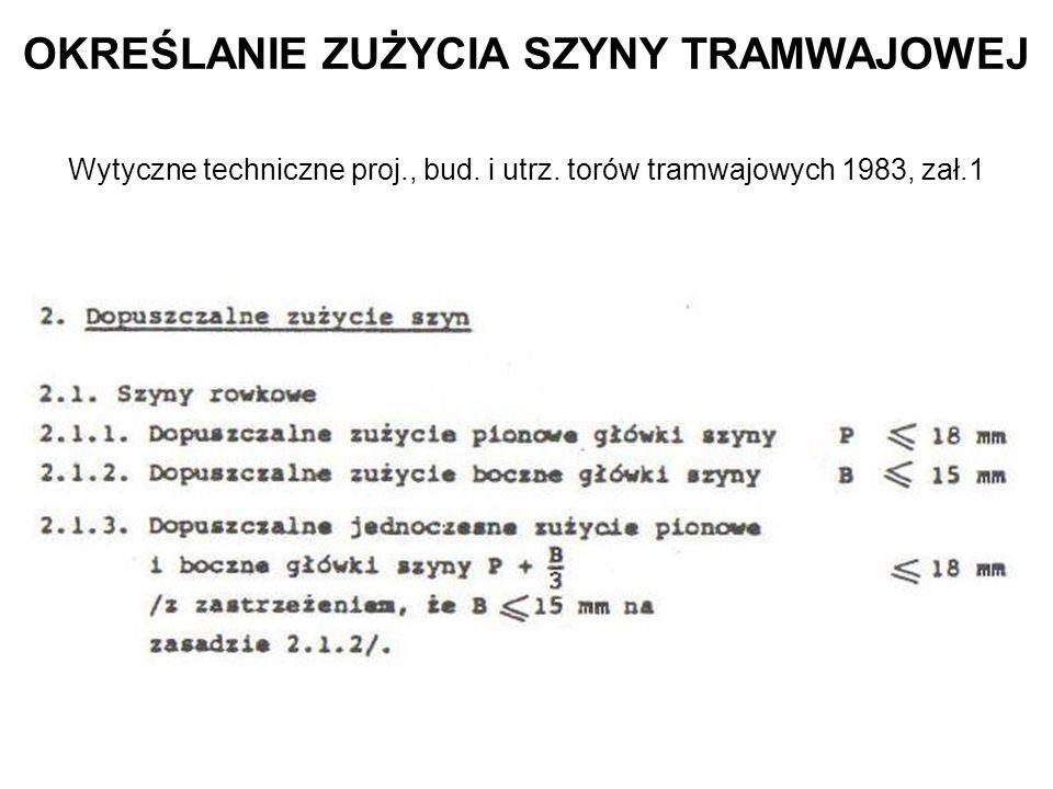 OKREŚLANIE ZUŻYCIA SZYNY TRAMWAJOWEJ Wytyczne techniczne proj., bud. i utrz. torów tramwajowych 1983, zał.1