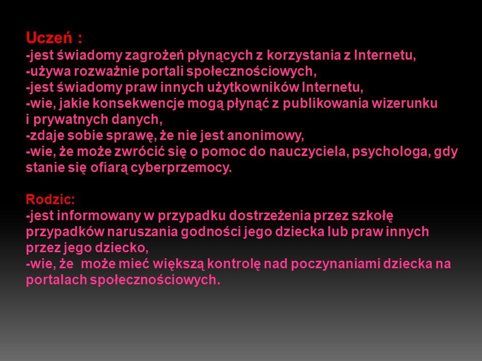 Uczeń : -jest świadomy zagrożeń płynących z korzystania z Internetu, -używa rozważnie portali społecznościowych, -jest świadomy praw innych użytkowników Internetu, -wie, jakie konsekwencje mogą płynąć z publikowania wizerunku i prywatnych danych, -zdaje sobie sprawę, że nie jest anonimowy, -wie, że może zwrócić się o pomoc do nauczyciela, psychologa, gdy stanie się ofiarą cyberprzemocy.