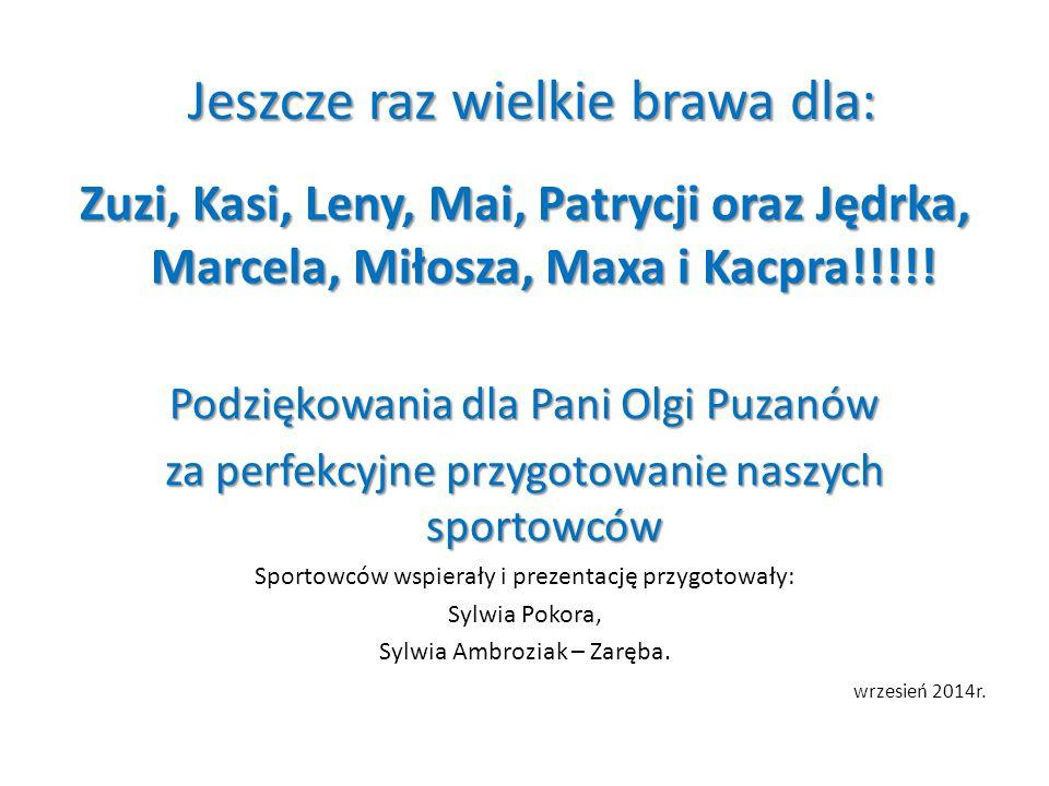 Jeszcze raz wielkie brawa dla: Jeszcze raz wielkie brawa dla: Zuzi, Kasi, Leny, Mai, Patrycji oraz Jędrka, Marcela, Miłosza, Maxa i Kacpra!!!!! Podzię