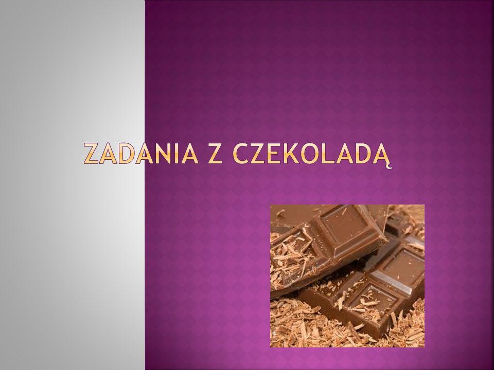 Kasia kupiła 4 czekolady.Jedna tabliczka czekolady ma 15 kostek.