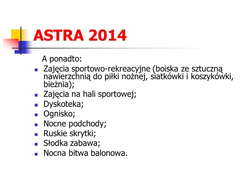 ASTRA 2014 A ponadto: Zajęcia sportowo-rekreacyjne (boiska ze sztuczną nawierzchnią do piłki nożnej, siatkówki i koszykówki, bieżnia); Zajęcia na hali