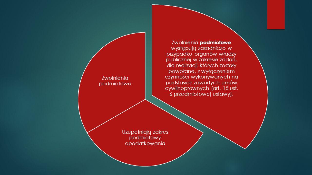 Zwolnienia podmiotowe występują zasadniczo w przypadku organów władzy publicznej w zakresie zadań, dla realizacji których zostały powołane, z wyłączen