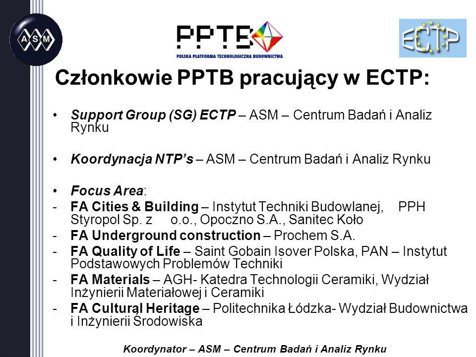 Support Group (SG) ECTP – ASM – Centrum Badań i Analiz Rynku Koordynacja NTP's – ASM – Centrum Badań i Analiz Rynku Focus Area: -FA Cities & Building – Instytut Techniki Budowlanej, PPH Styropol Sp.