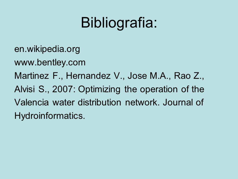 Bibliografia: en.wikipedia.org www.bentley.com Martinez F., Hernandez V., Jose M.A., Rao Z., Alvisi S., 2007: Optimizing the operation of the Valencia water distribution network.