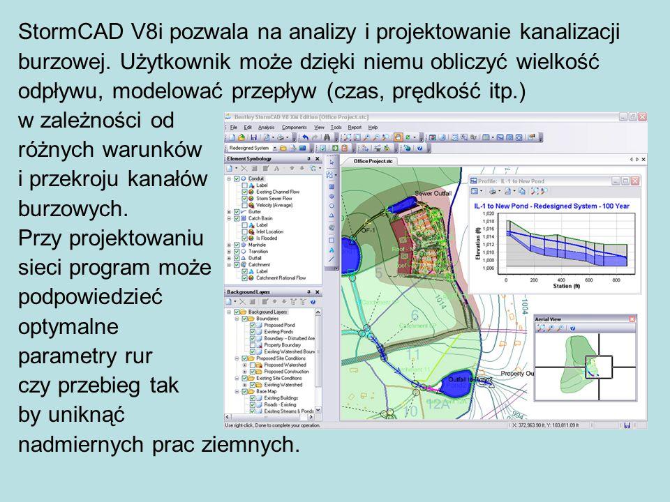 StormCAD V8i pozwala na analizy i projektowanie kanalizacji burzowej.