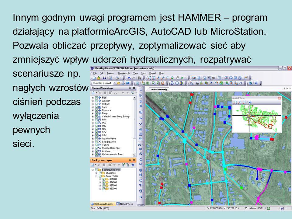 Innym godnym uwagi programem jest HAMMER – program działający na platformieArcGIS, AutoCAD lub MicroStation.