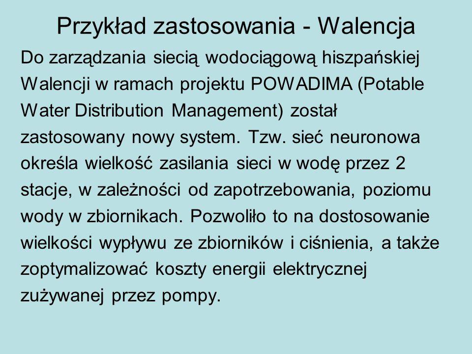 Przykład zastosowania - Walencja Do zarządzania siecią wodociągową hiszpańskiej Walencji w ramach projektu POWADIMA (Potable Water Distribution Management) został zastosowany nowy system.