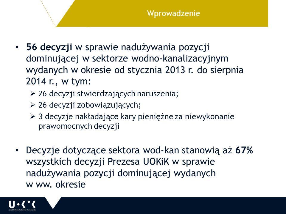Wprowadzenie 56 decyzji w sprawie nadużywania pozycji dominującej w sektorze wodno-kanalizacyjnym wydanych w okresie od stycznia 2013 r. do sierpnia 2