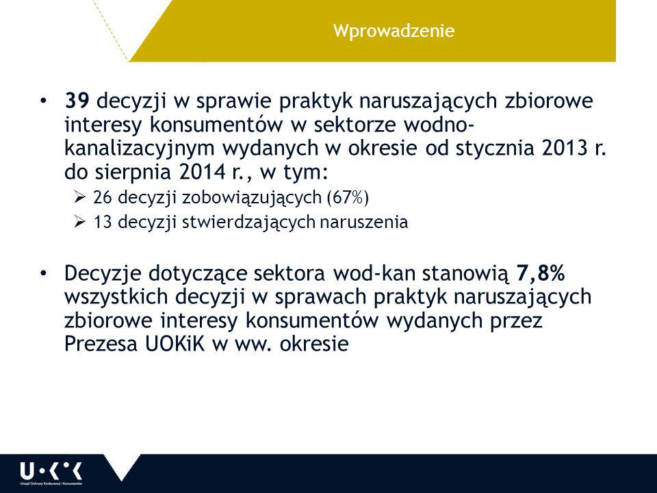 Wprowadzenie 39 decyzji w sprawie praktyk naruszających zbiorowe interesy konsumentów w sektorze wodno- kanalizacyjnym wydanych w okresie od stycznia