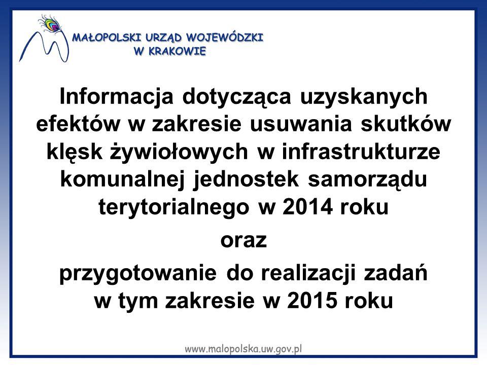Informacja dotycząca uzyskanych efektów w zakresie usuwania skutków klęsk żywiołowych w infrastrukturze komunalnej jednostek samorządu terytorialnego w 2014 roku oraz przygotowanie do realizacji zadań w tym zakresie w 2015 roku