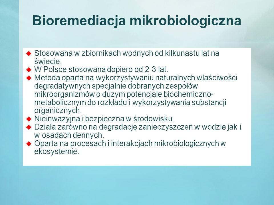 Bioremediacja mikrobiologiczna  Stosowana w zbiornikach wodnych od kilkunastu lat na świecie.  W Polsce stosowana dopiero od 2-3 lat.  Metoda opart