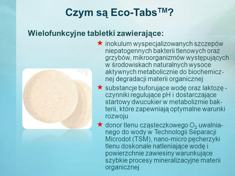 Czym są Eco-Tabs TM ?  inokulum wyspecjalizowanych szczepów niepatogennych bakterii tlenowych oraz grzybów, mikroorganizmów występujących w środowisk