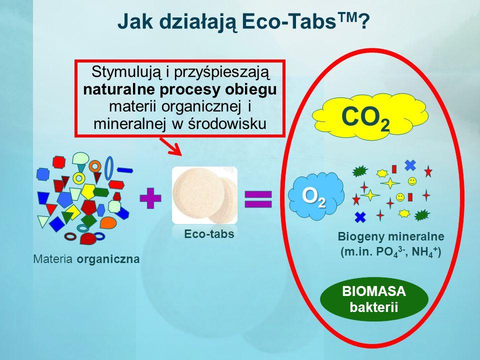 Jak działają Eco-Tabs TM ? CO 2 BIOMASA bakterii Materia organiczna Biogeny mineralne (m.in. PO 4 3-, NH 4 + ) O2O2O2O2 Eco-tabs Stymulują i przyśpies