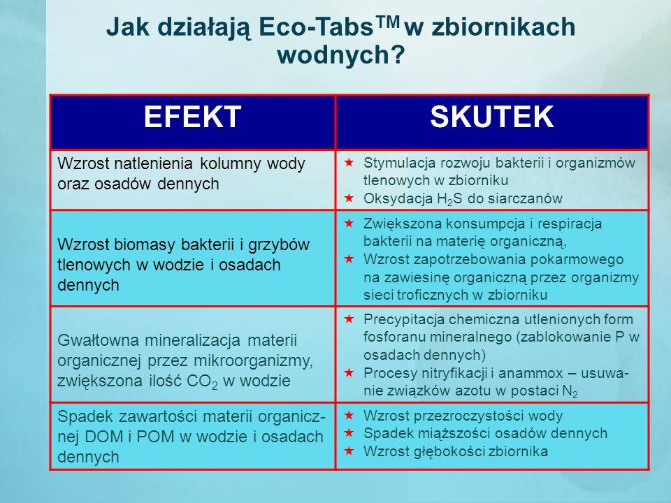 Jak działają Eco-Tabs TM w zbiornikach wodnych? EFEKTSKUTEK Wzrost natlenienia kolumny wody oraz osadów dennych  Stymulacja rozwoju bakterii i organi