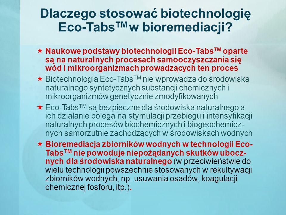 Dlaczego stosować biotechnologię Eco-Tabs TM w bioremediacji?  Naukowe podstawy biotechnologii Eco-Tabs TM oparte są na naturalnych procesach samoocz