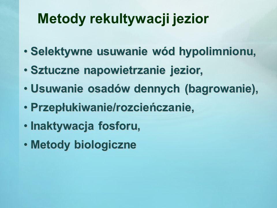 Selektywne usuwanie wód hypolimnionu Po raz pierwszy na świecie przeprowadził ten zabieg Przemysław Olszewski na jeziorze Kortowskim w Olsztynie.
