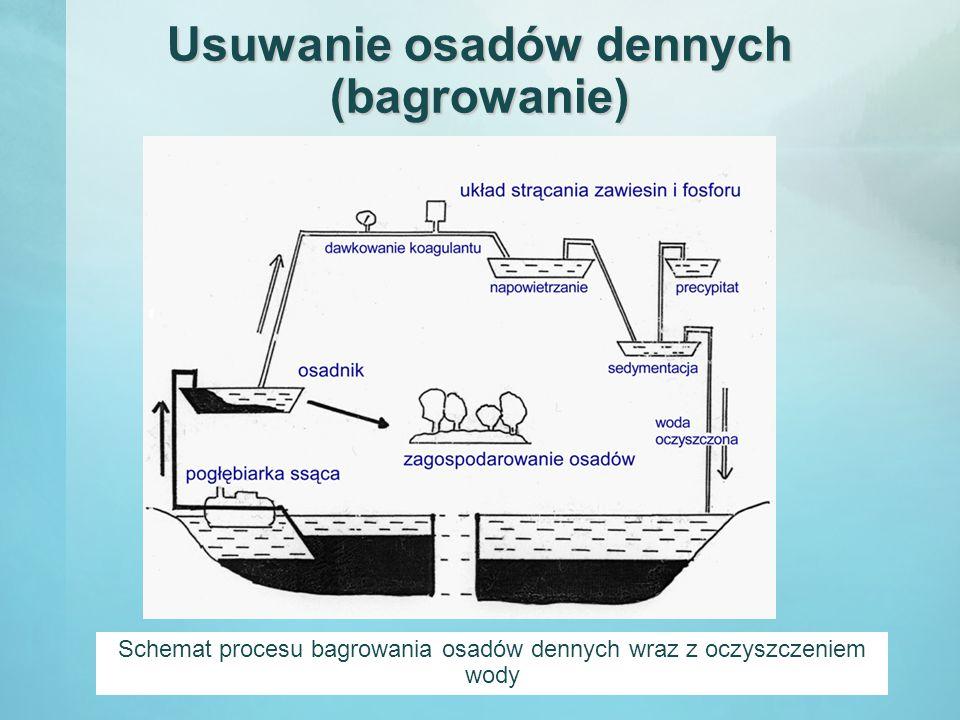Usuwanie osadów dennych (bagrowanie) Schemat procesu bagrowania osadów dennych wraz z oczyszczeniem wody