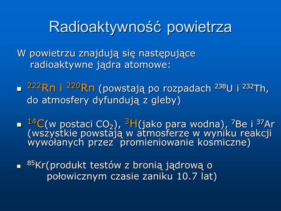 Radioaktywność powietrza W powietrzu znajdują się następujące radioaktywne jądra atomowe: radioaktywne jądra atomowe: 222 Rn i 220 Rn (powstają po roz