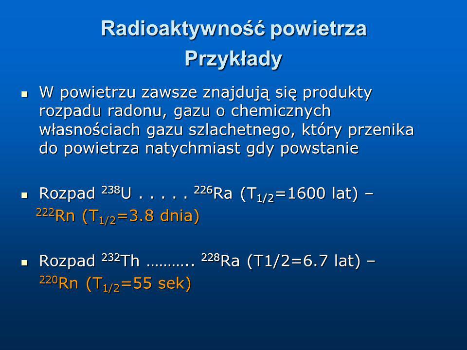 Radioaktywność powietrza Przykłady W powietrzu zawsze znajdują się produkty rozpadu radonu, gazu o chemicznych własnościach gazu szlachetnego, który p