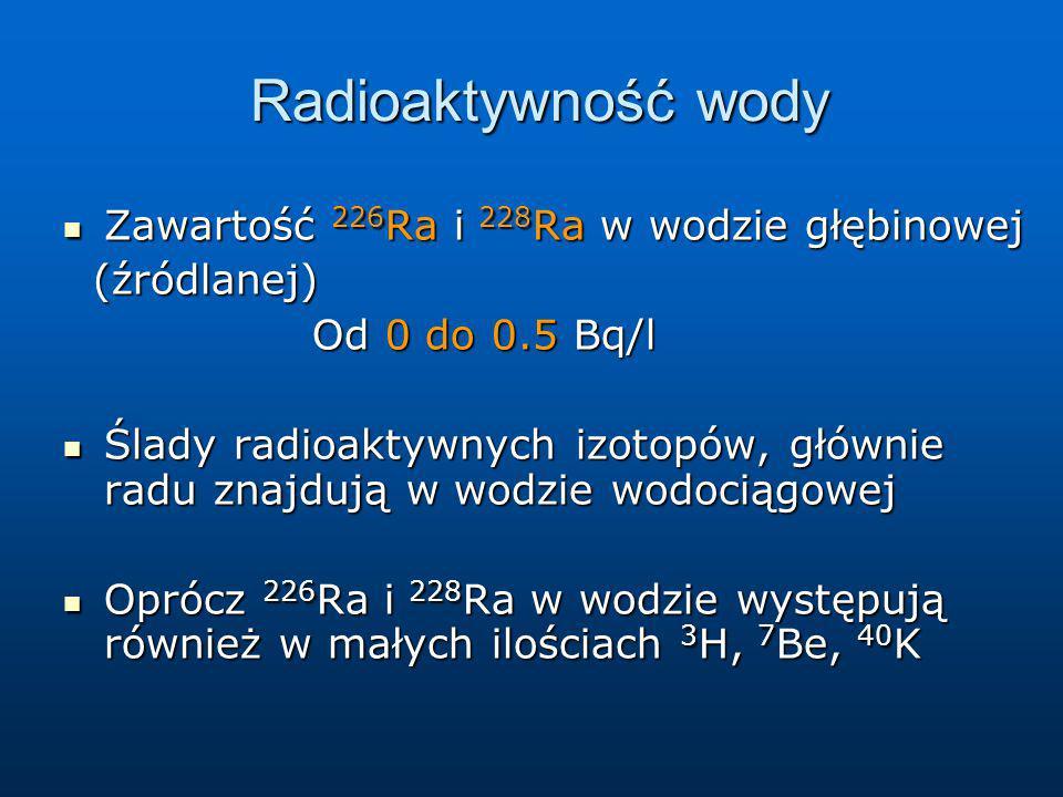 Radioaktywność wody Radioaktywność wody Zawartość 226 Ra i 228 Ra w wodzie głębinowej Zawartość 226 Ra i 228 Ra w wodzie głębinowej (źródlanej) (źródl