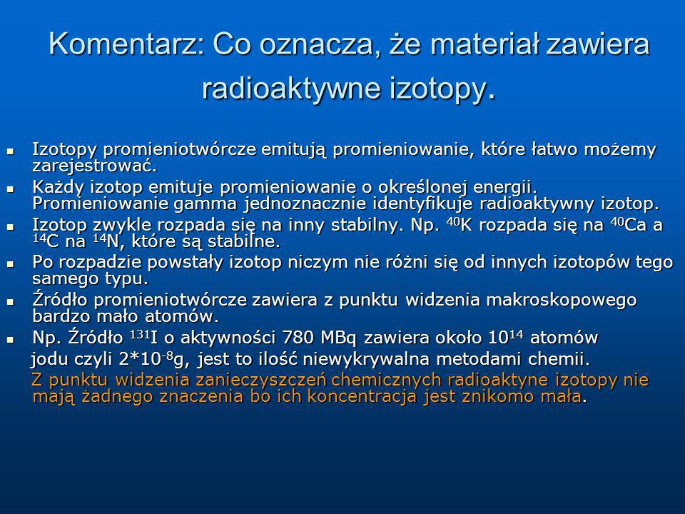 Komentarz: Co oznacza, że materiał zawiera radioaktywne izotopy. Izotopy promieniotwórcze emitują promieniowanie, które łatwo możemy zarejestrować. Iz