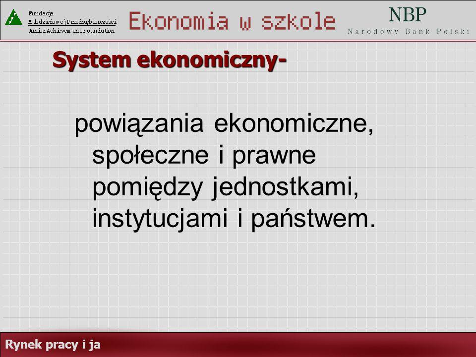 Rynek pracy i ja System ekonomiczny- powiązania ekonomiczne, społeczne i prawne pomiędzy jednostkami, instytucjami i państwem.