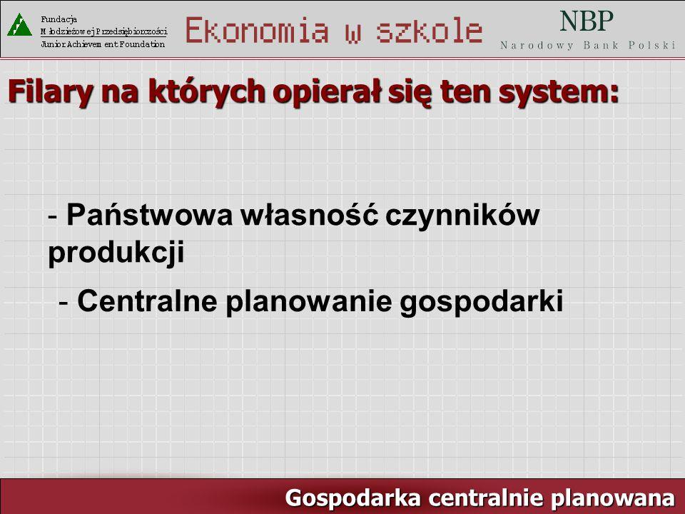 Rynek pracy i ja Gospodarka centralnie planowana Filary na których opierał się ten system: - Państwowa własność czynników produkcji - Centralne planowanie gospodarki