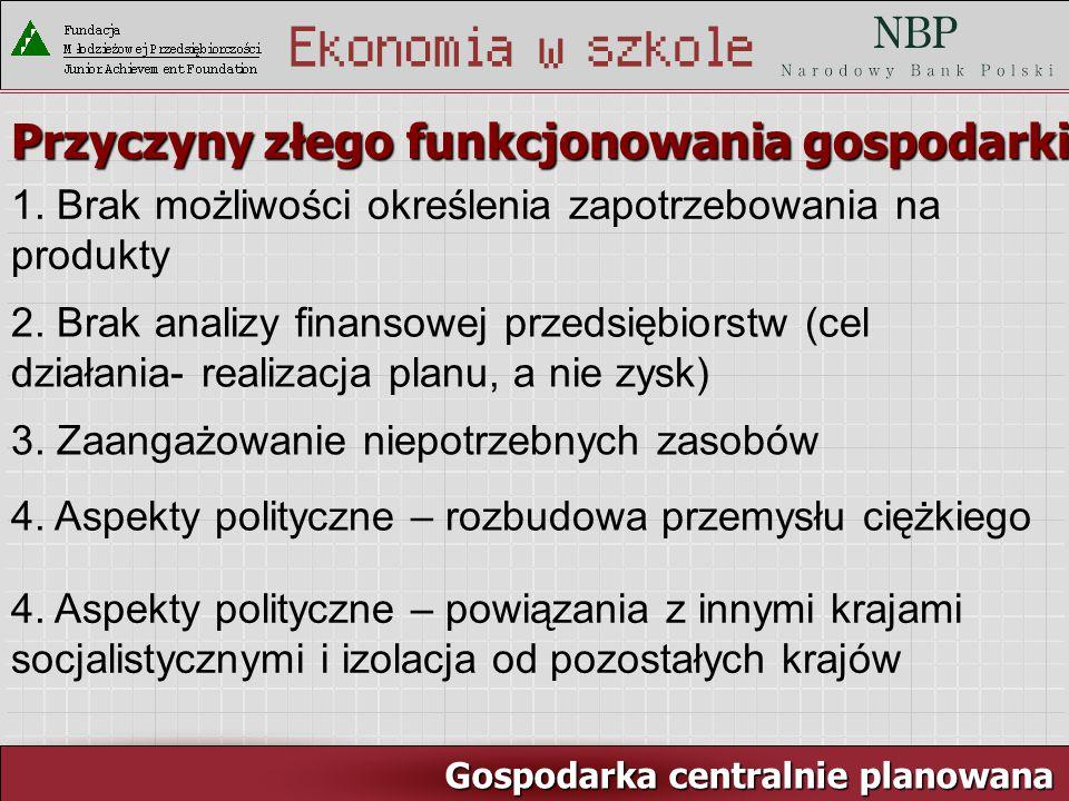 Rynek pracy i ja Gospodarka centralnie planowana Przyczyny złego funkcjonowania gospodarki: 1.