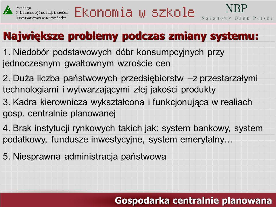 Rynek pracy i ja Gospodarka centralnie planowana Największe problemy podczas zmiany systemu: 1.