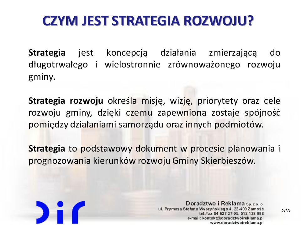 2/33 CZYM JEST STRATEGIA ROZWOJU? Strategia jest koncepcją działania zmierzającą do długotrwałego i wielostronnie zrównoważonego rozwoju gminy. Strate