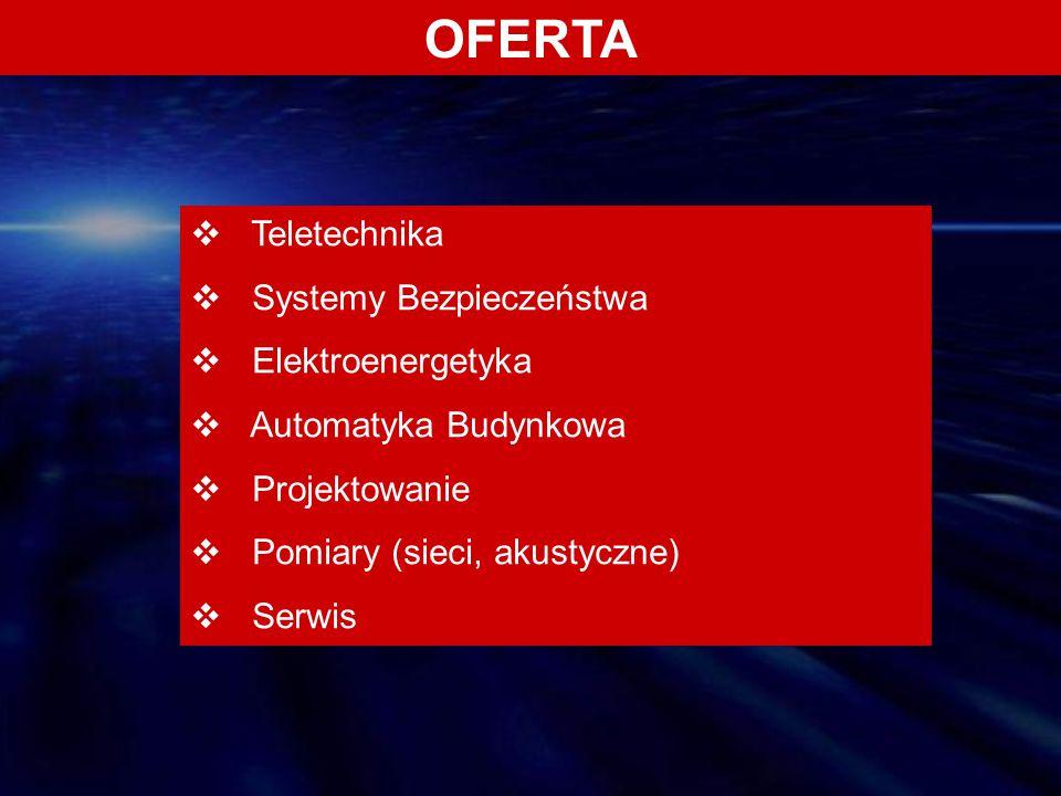OFERTA  Teletechnika  Systemy Bezpieczeństwa  Elektroenergetyka  Automatyka Budynkowa  Projektowanie  Pomiary (sieci, akustyczne)  Serwis