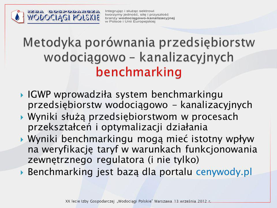  IGWP wprowadziła system benchmarkingu przedsiębiorstw wodociągowo - kanalizacyjnych  Wyniki służą przedsiębiorstwom w procesach przekształceń i opt