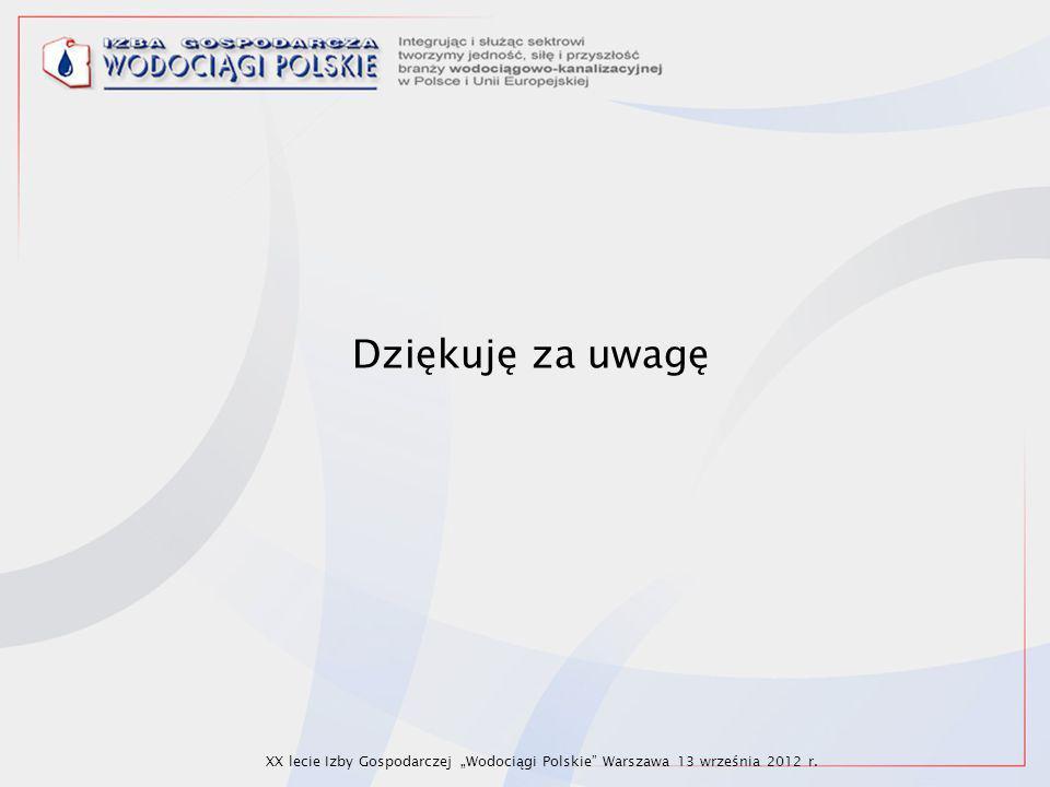"""Dziękuję za uwagę XX lecie Izby Gospodarczej """"Wodociągi Polskie"""" Warszawa 13 września 2012 r."""