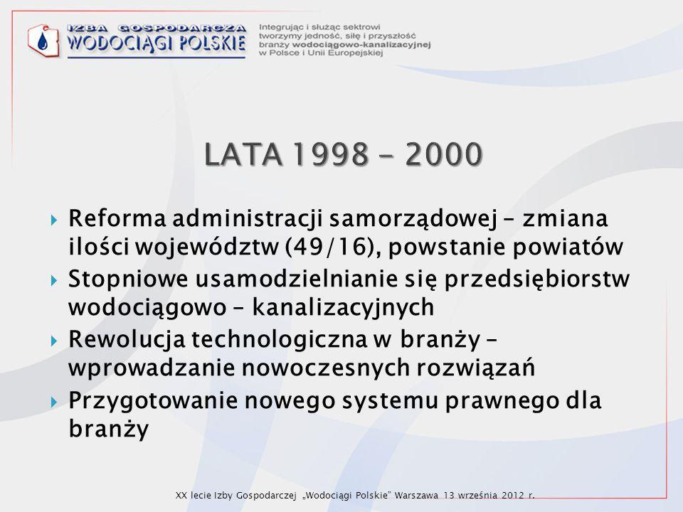  Reforma administracji samorządowej – zmiana ilości województw (49/16), powstanie powiatów  Stopniowe usamodzielnianie się przedsiębiorstw wodociągo