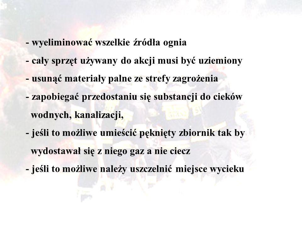 - wyeliminować wszelkie źródła ognia - cały sprzęt używany do akcji musi być uziemiony - usunąć materiały palne ze strefy zagrożenia - zapobiegać prze