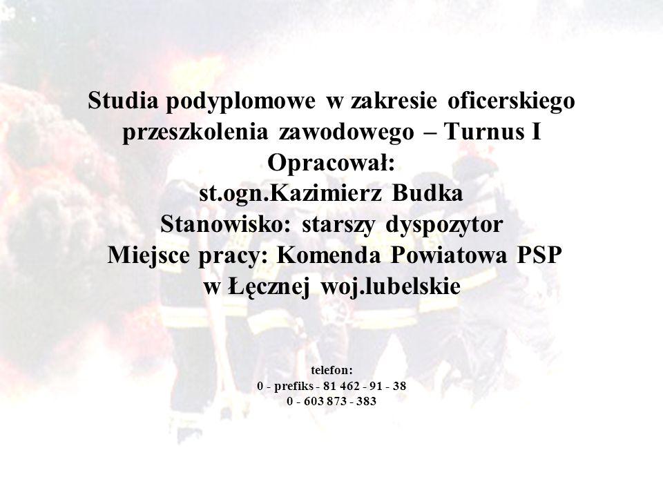 Studia podyplomowe w zakresie oficerskiego przeszkolenia zawodowego – Turnus I Opracował: st.ogn.Kazimierz Budka Stanowisko: starszy dyspozytor Miejsc